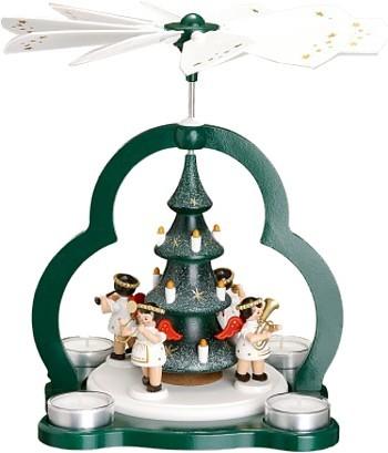 Zeidler Teelichtpyramide mit Baum und 4 Engeln weiß