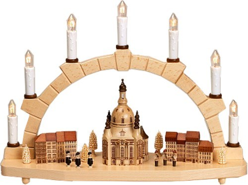 Zeidler Schwibbogen mit Frauenkirche und Häusern 7Kerzen