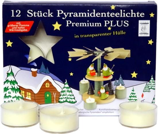 12 Pyramidenteelichter Premium Plus