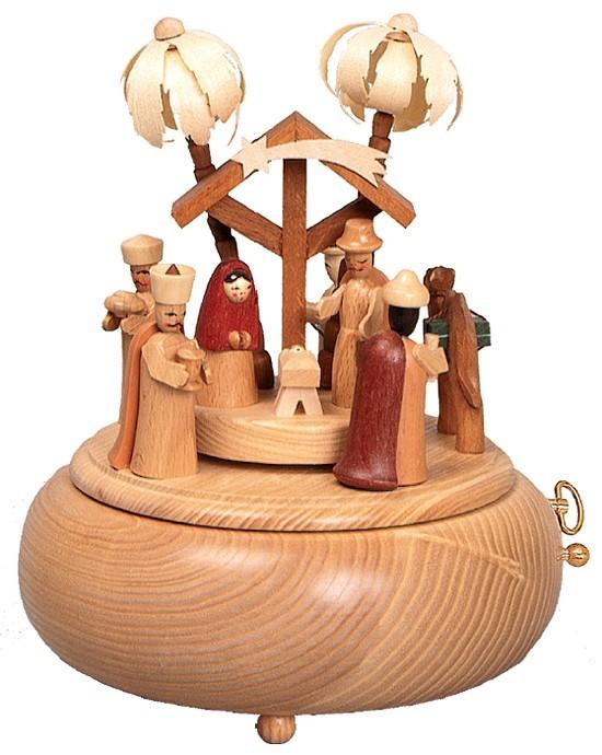 Seiffener Handwerksschau Spieldose Geburt- Natur
