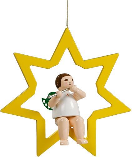 Ellmann großer Engel im Stern mit Querflöte - hängend, ohne Krone