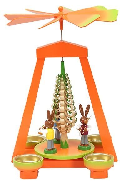 Seiffener Handwerksschau Osterpyramide orange grün