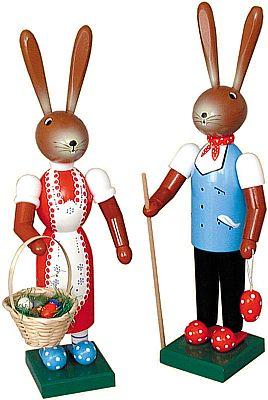 Seiffener Handwerksschau Osterhasenpaar stehend