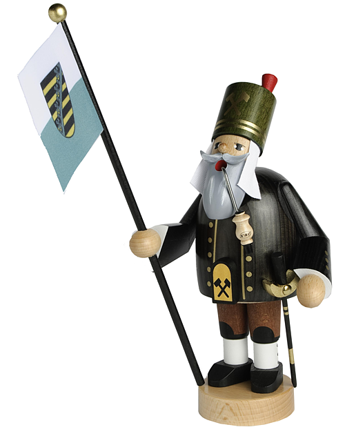 incense smoker, miner with flag