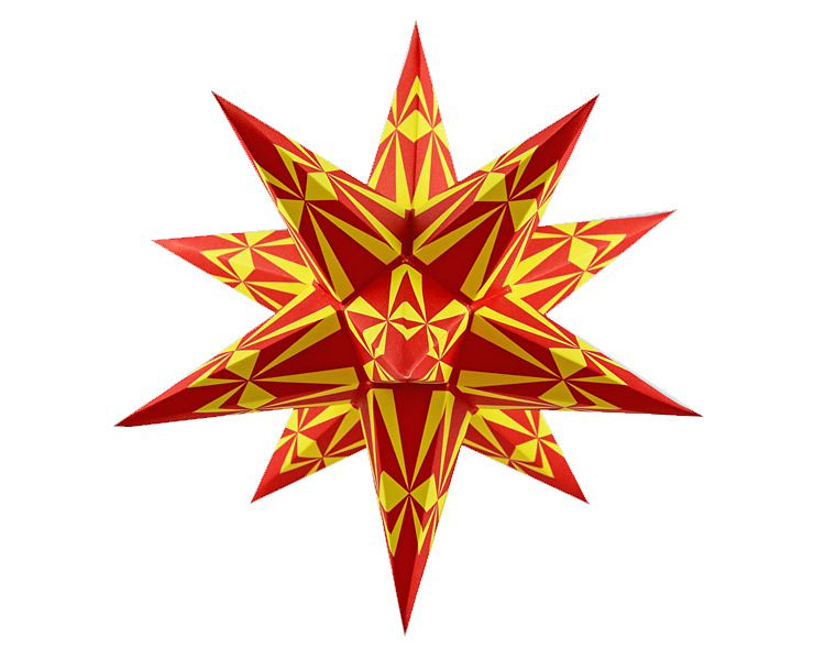 Marienberger Adventsstern - rot-gelbe Ornamente