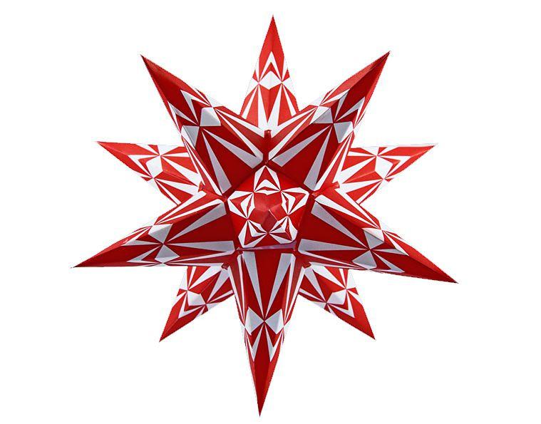 Marienberger Adventsstern - rot-weiße Ornamente