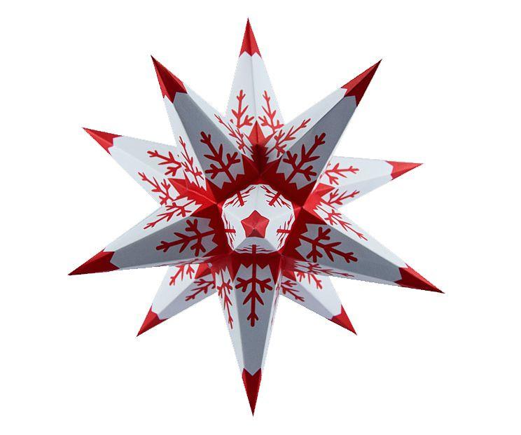Marienberger Adventsstern - weiß-rot Flocken Spitze