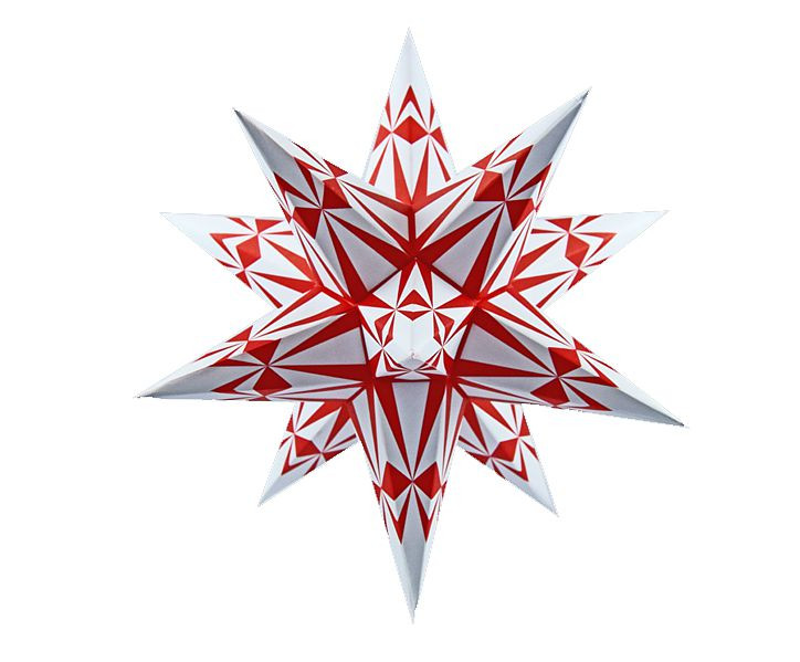 Marienberger Adventsstern -weiß-rote Ornamente