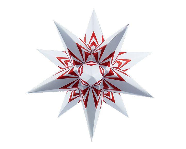 Marienberger Adventsstern - weiß-rote Ecken