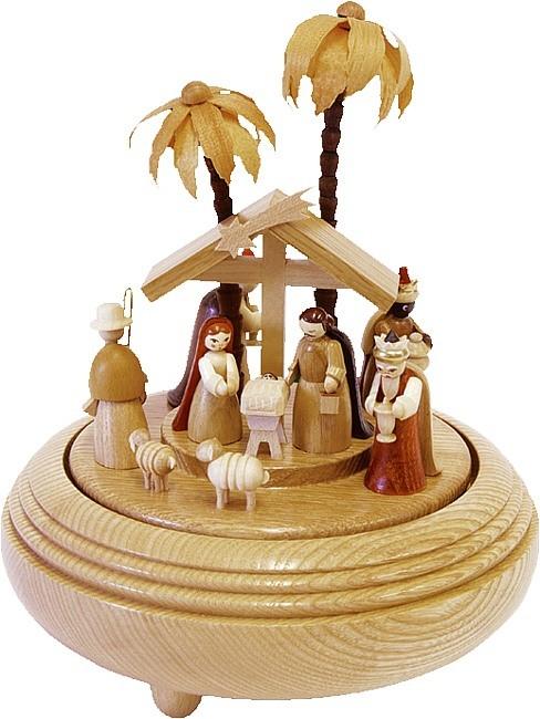 Richard Glässer Spieldose Christi Geburt natur, 18er Spielwerk