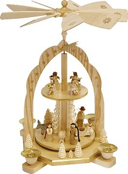 2-storeyed Christmas pyramid, Nativity with angels