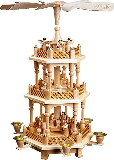 2-storeyed Christmas pyramid, Nativity - natural coloured