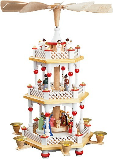 2-storeyed Christmas pyramid, Nativity -white