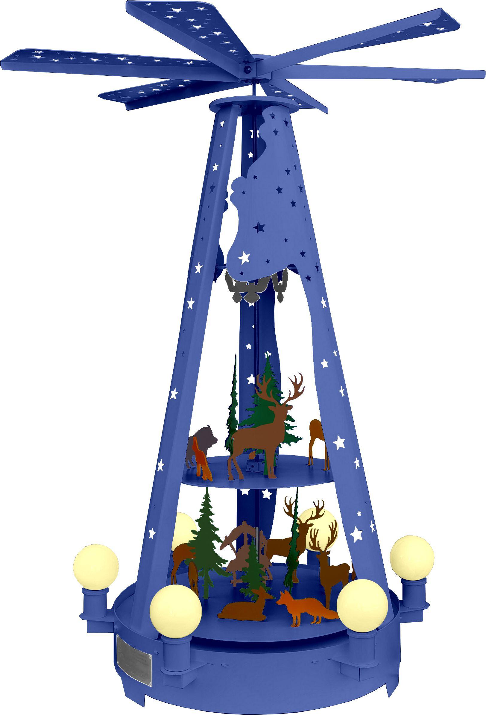 Außenpyramide aus Metall - Waldmotiv, blau