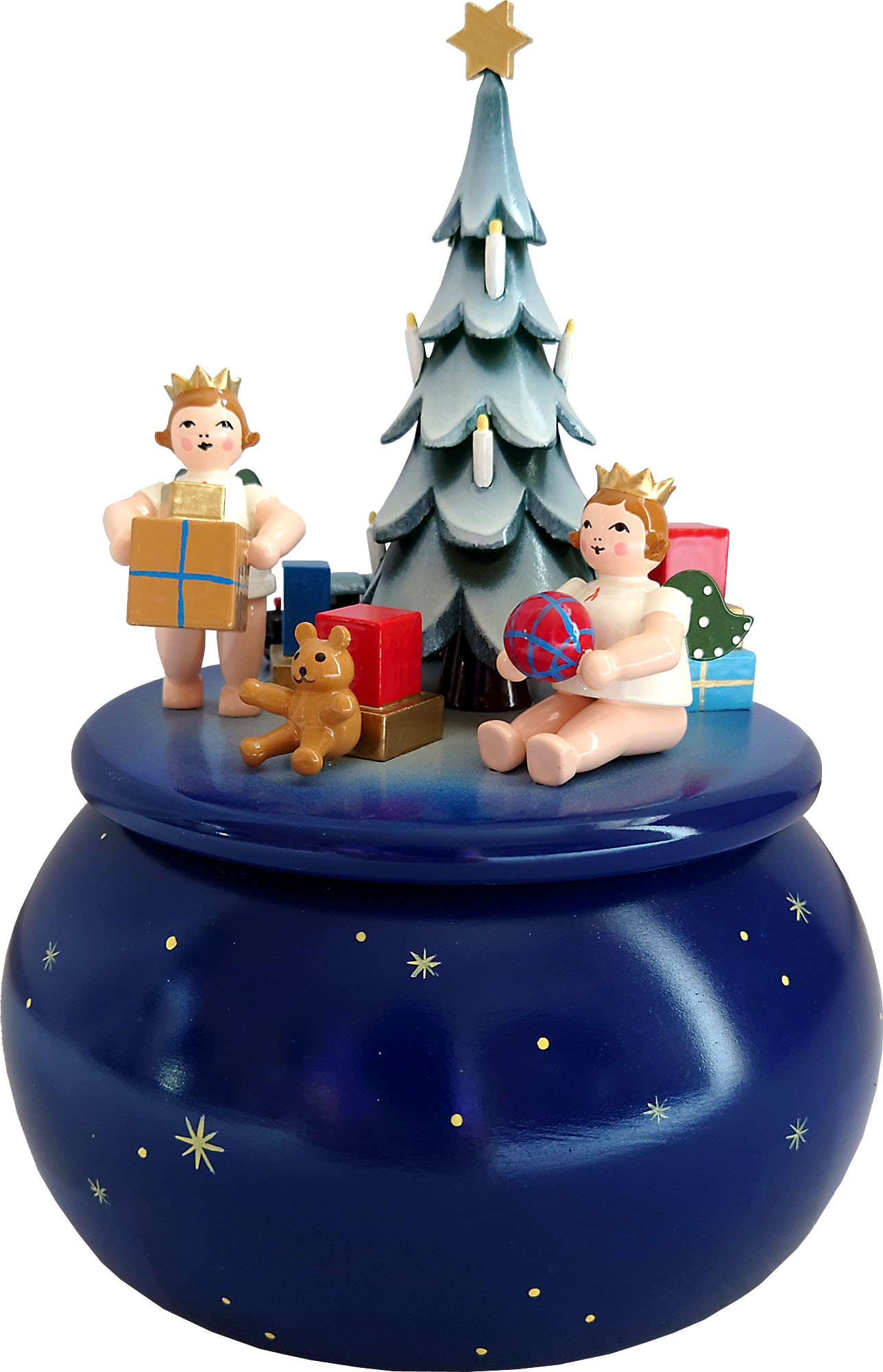 Ellmann Spieldose - Engel am Weihnachtsbaum, blau mit Sternen