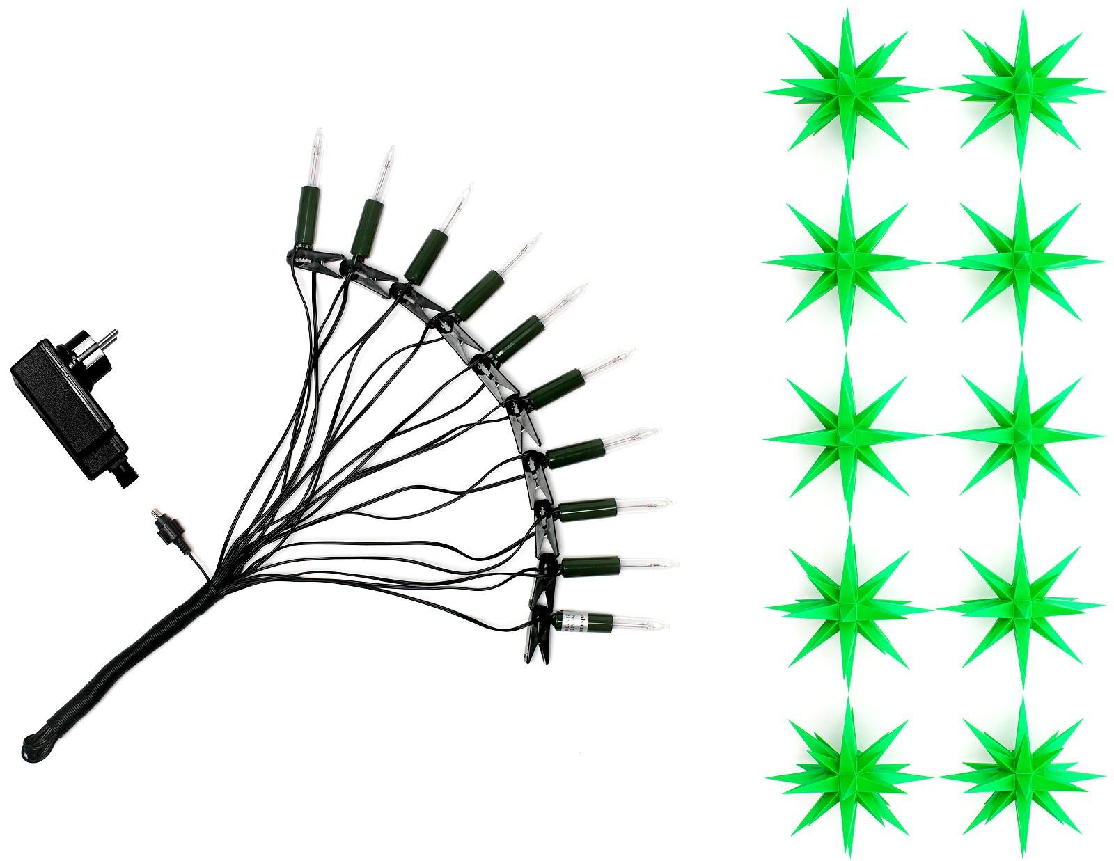 Herrnhuter Sternenkette, 10 Sterne grün