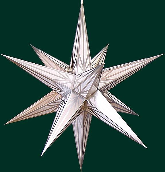 Haßlauer Adventsstern, weiß mit Silbermuster