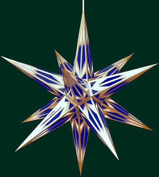 Haßlauer Adventsstern, blau/weiß mit Goldmuster