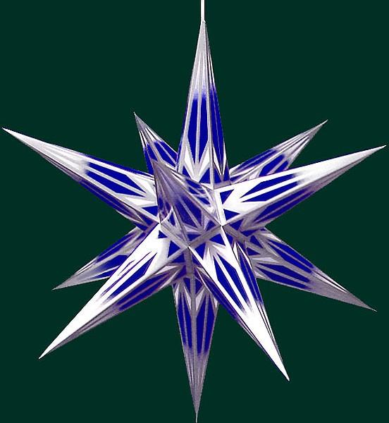 Haßlauer Adventsstern, blau/weiß mit Silbermuster