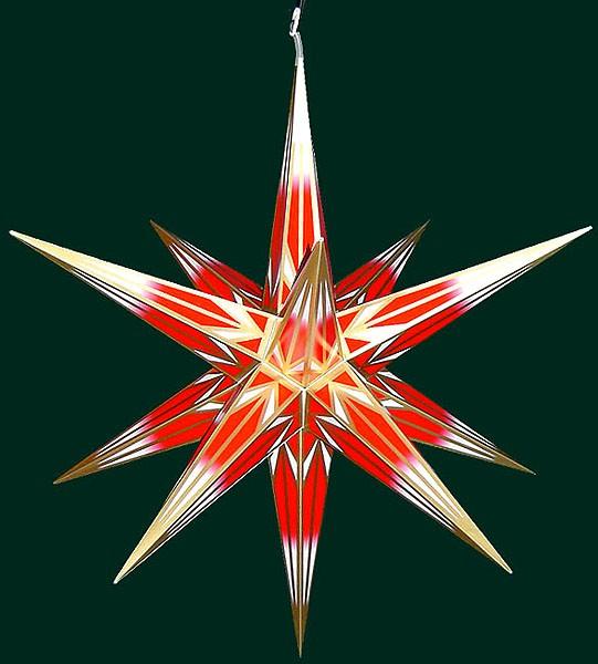 Haßlauer Advent-Außenstern, rot/weiß mit Goldmuster, groß
