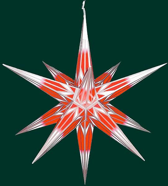 Haßlauer Advent-Außenstern, rot/weiß mit Silbermuster, groß