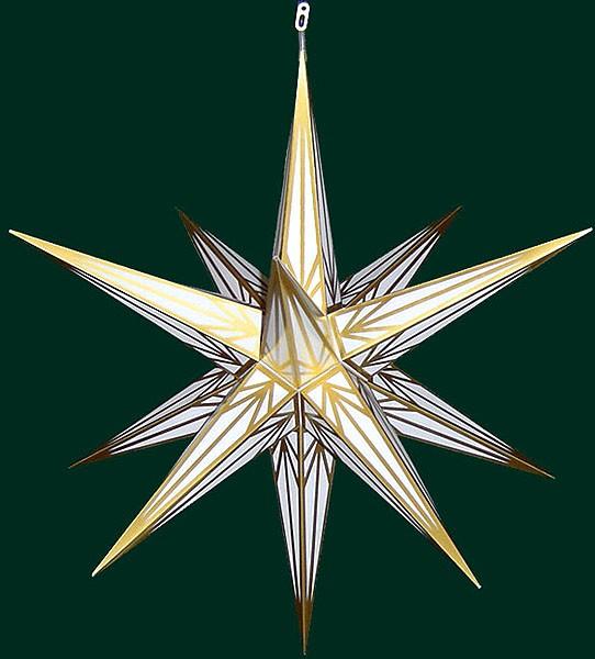 Haßlauer Advent-Außenstern, weiß mit Goldmuster, groß