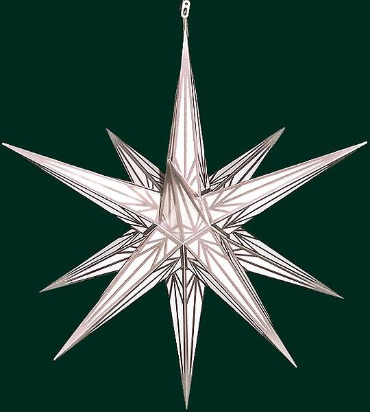 Haßlauer Advent-Außenstern, weiß mit Silbermuster, groß