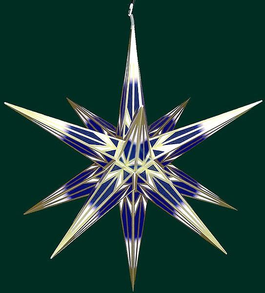Haßlauer Advent-Außenstern, blau/weiß mit Goldmuster, groß