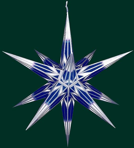 Haßlauer Advent-Außenstern, blau/weiß mit Silbermuster, groß