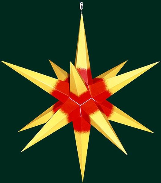 Haßlauer Advent-Außenstern, gelb mit rotem Kern, groß