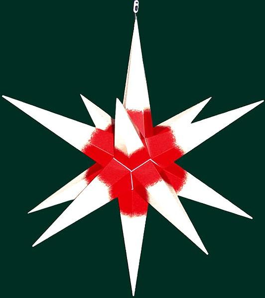 Haßlauer Advent-Außenstern, weiß mit rotem Kern, groß