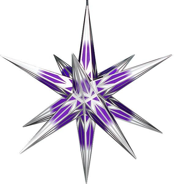 Haßlauer Advent-Außenstern, lila/weiß mit Silbermuster groß