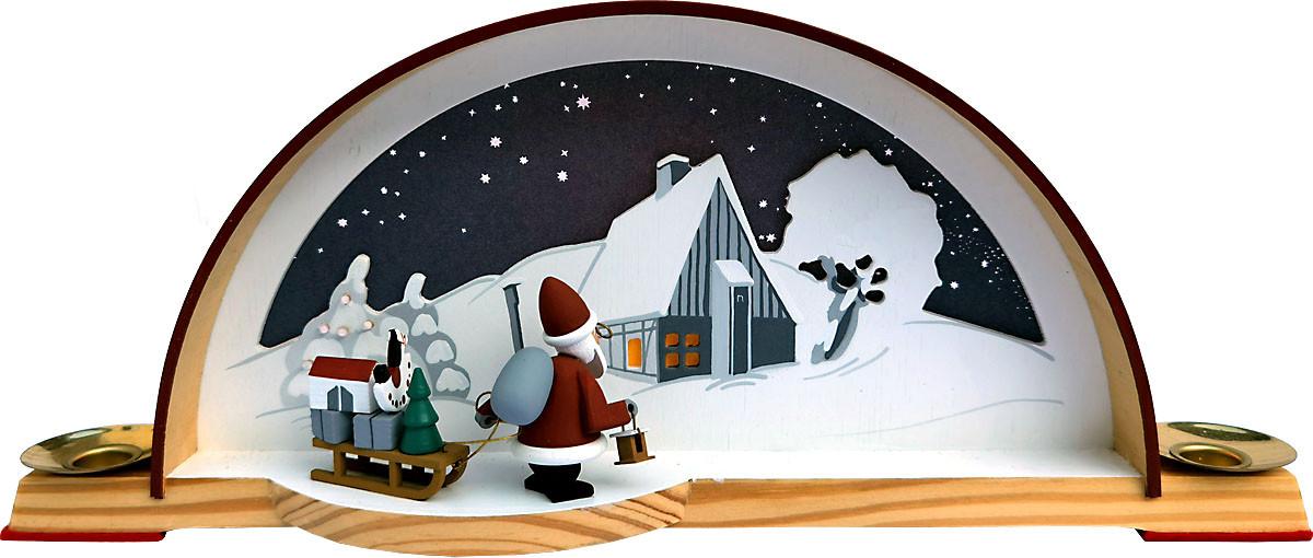 Manufaktur Klaus Kolbe Schwibbogen Waldhaus mit Weihnachtsmann