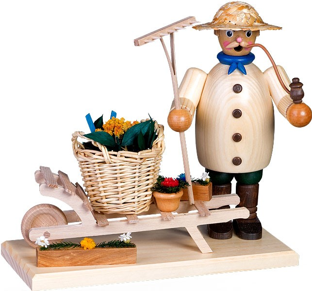 incense smoker, gardener with wheelbarrow