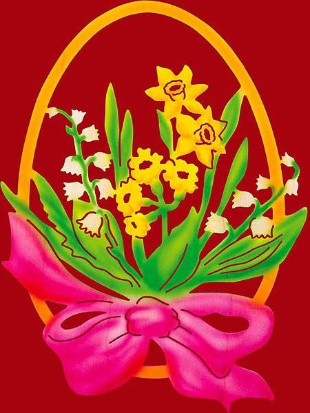 Taulin Fensterbild Ei mit Blume und Schleife - rose