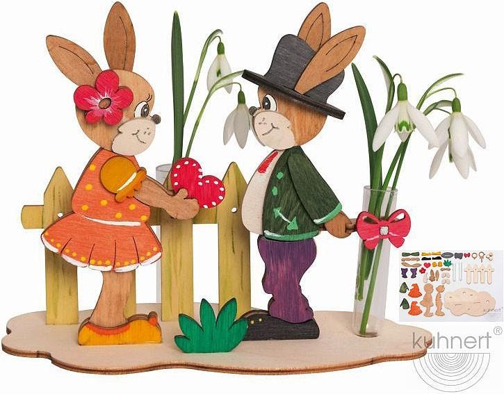 Drechslerei Kuhnert Bastelset Hasen mit Blumen