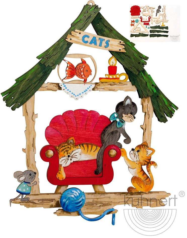 crafting set, window decoration, cats in chair