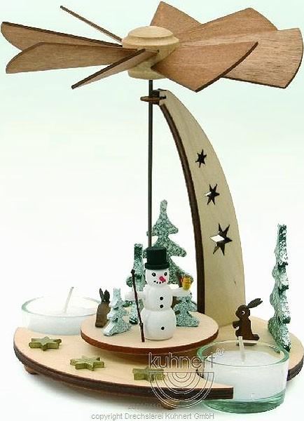 Drechslerei Kuhnert Teelichtpyramide Schneemann, natur