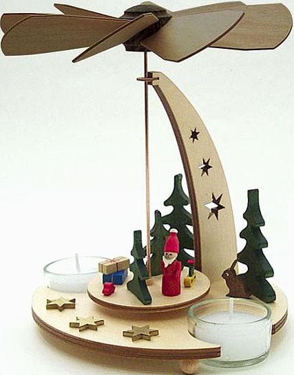 Drechslerei Kuhnert Teelichtpyramide Weihnachtsmann, natur