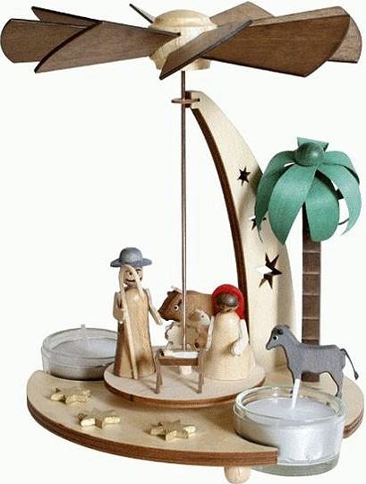Drechslerei Kuhnert Teelichtpyramide Weihnachtskrippe, natur