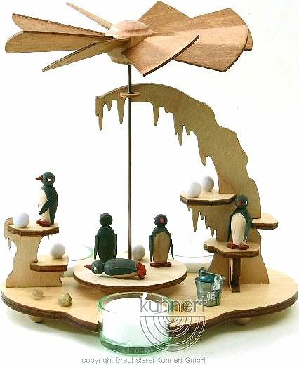 Drechslerei Kuhnert Teelichtpyramide Pinguin, natur