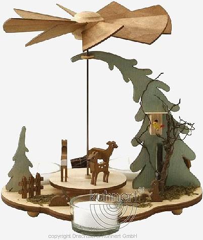 Drechslerei Kuhnert Teelichtpyramide Waldtiere, natur