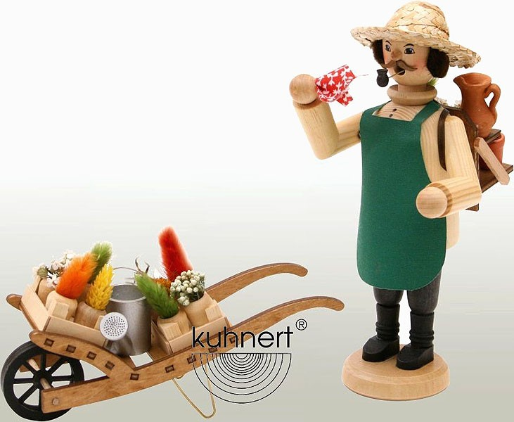 incense smoker, gardener with whellbarrow, natural
