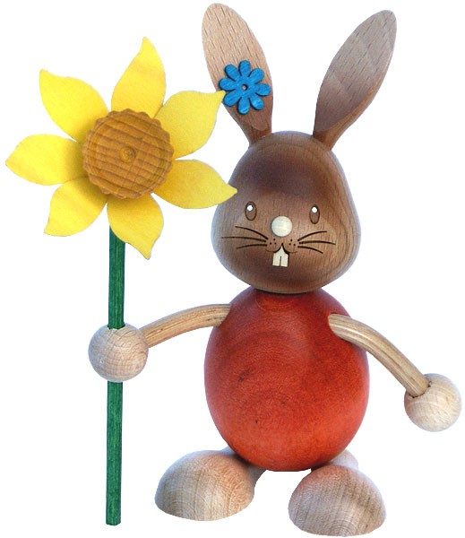 Drechslerei Kuhnert Stupsi Hase mit Blume