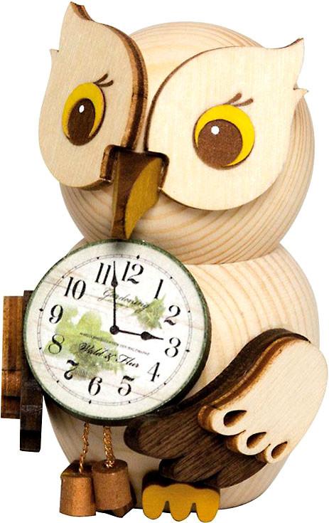 Drechslerei Kuhnert Mini-Eule mit Uhr
