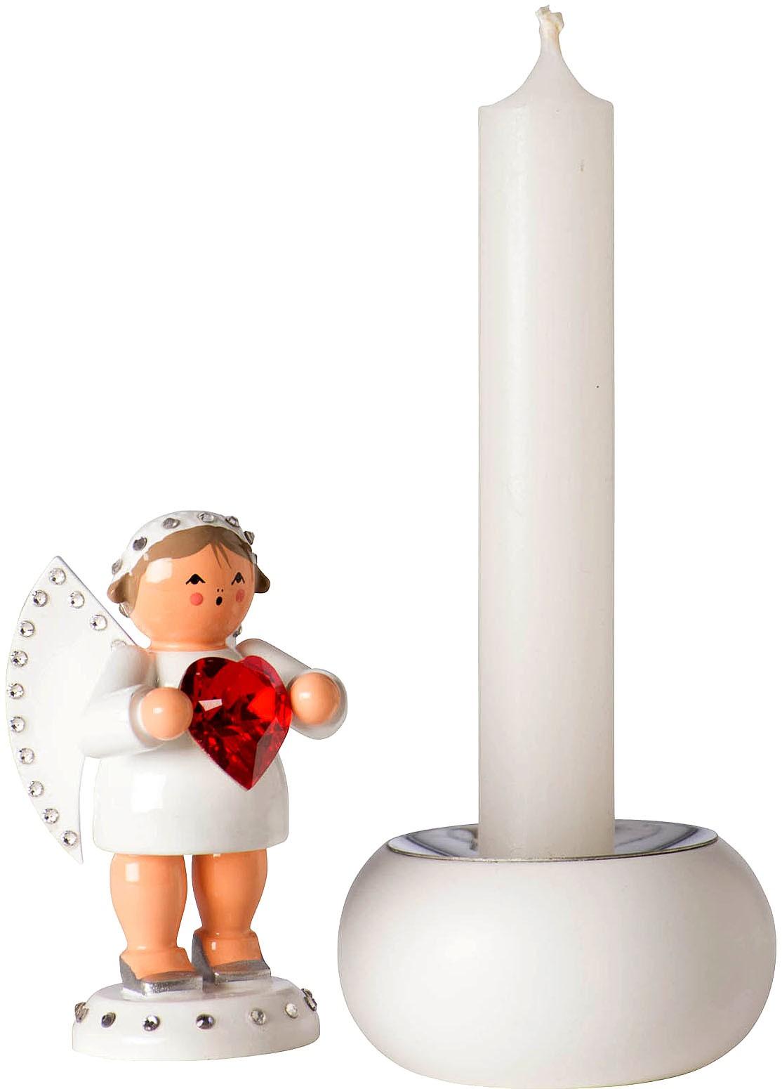 KWO Liebesbote mit rotem Swarovski-Herz und Lichtsockel