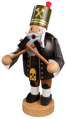incense smoker, miner with hammer and pick
