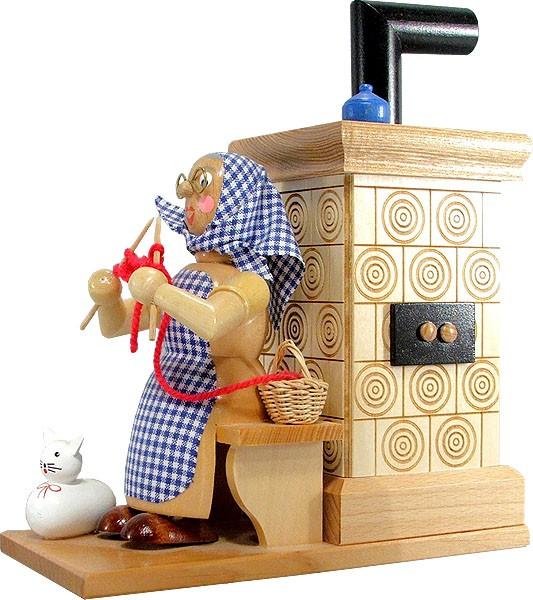HoDreWa Legler Räuchermann Oma am Ofen - Ofen natur