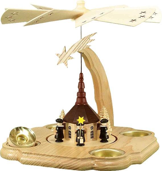 HoDreWa Legler Pyramide mit Kirche für Teelicht und Kerze