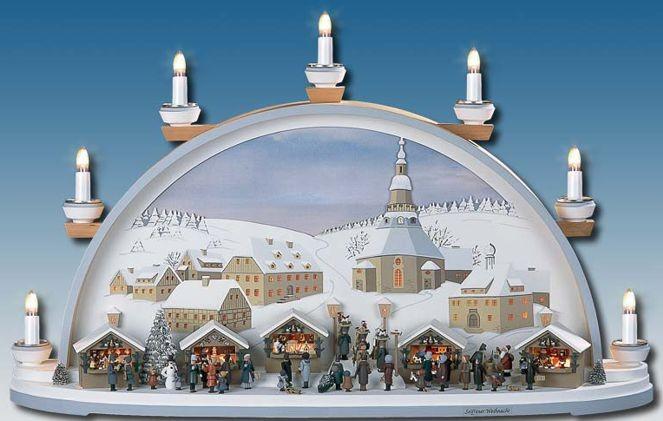 Manufaktur Klaus Kolbe Schwibbogen Seiffner Weihnacht, braunes Bild